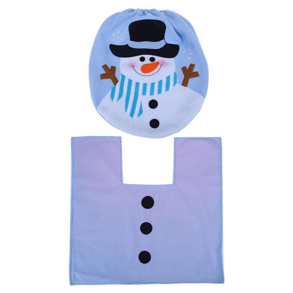 Incredible 2Pcs Christmas Snowman Toilet Lid Seat Cover Rug Foot Mat Non Slip Bathroom Cjindustries Chair Design For Home Cjindustriesco