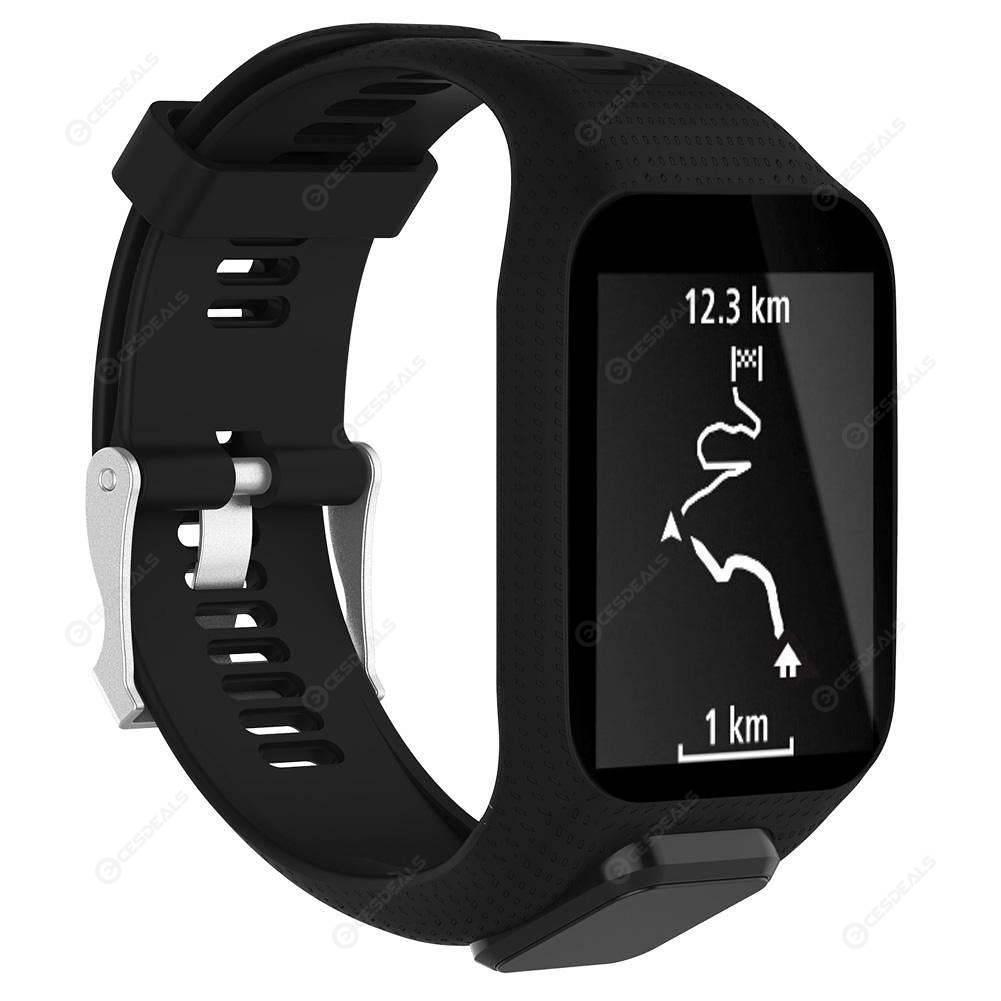 Silicone Watchband Fittings for TomTom Runner 2/Spark/Spark 3(Black)