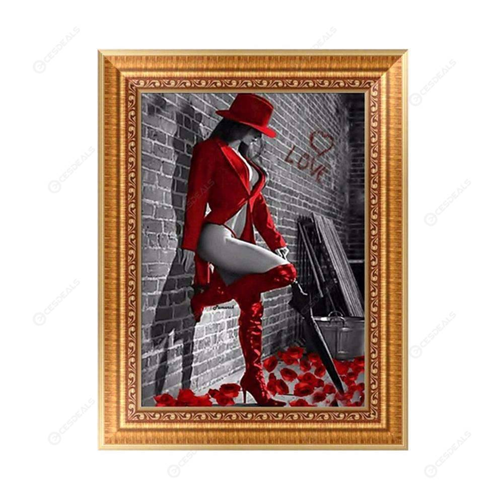 DIY 5D Diamond Embroidery Painting Girl Red Cross Stitch Craft Home Decor