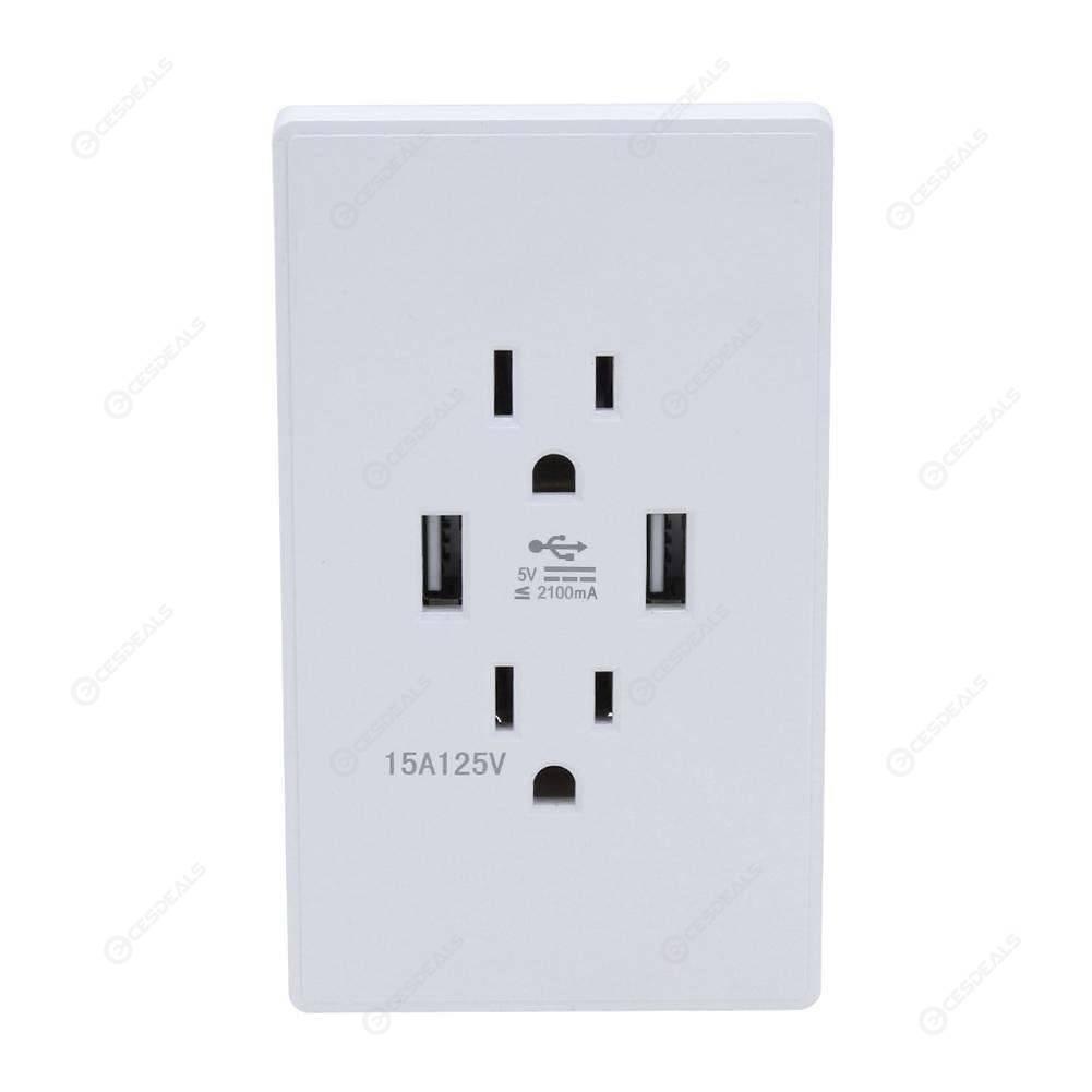 Blanc Double USB Prise Murale Chargeur AC Adaptateur d/'alimentation EU plug Outlet Plaque Panneau