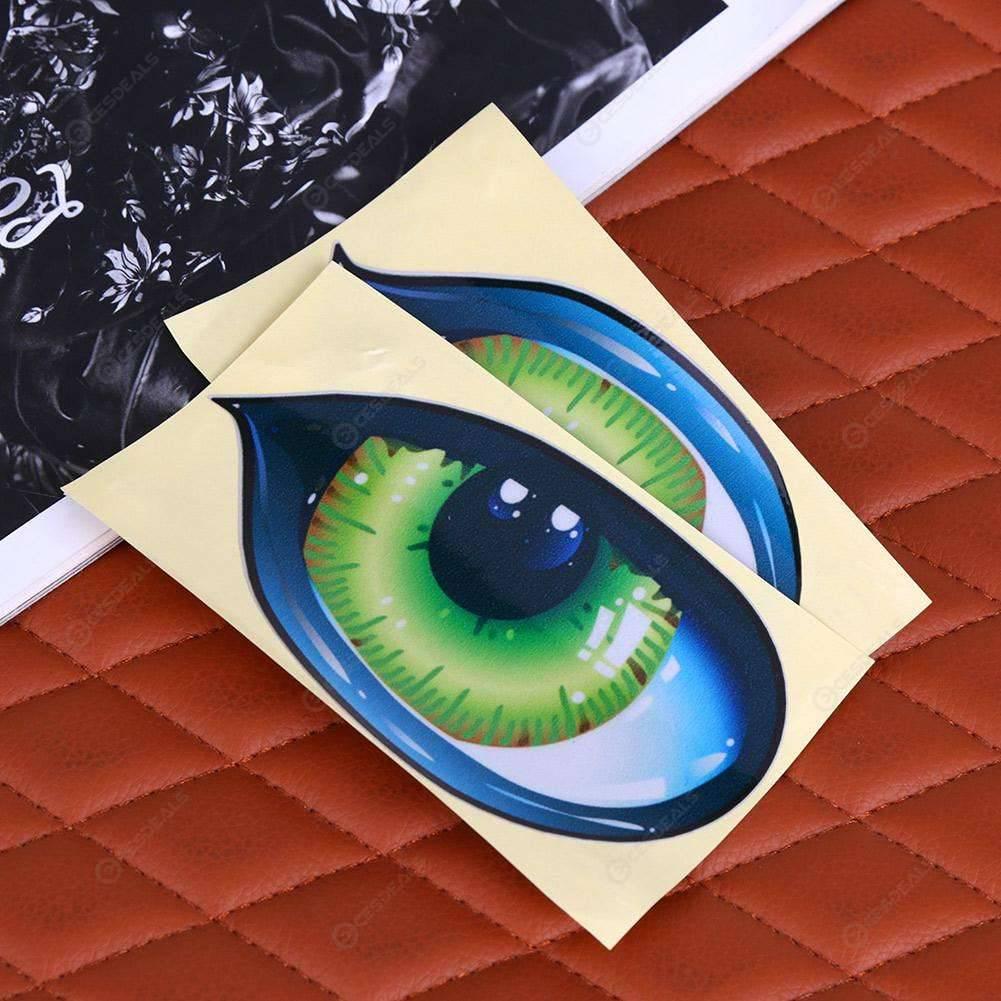 1 Paar 3d Lustige Reflektierende Grüne Katze Augen Auto Aufkleber Lkw Kopf Motor Rückspiegel Fenstergrafik Abdeckung Tür Aufkleber Neu