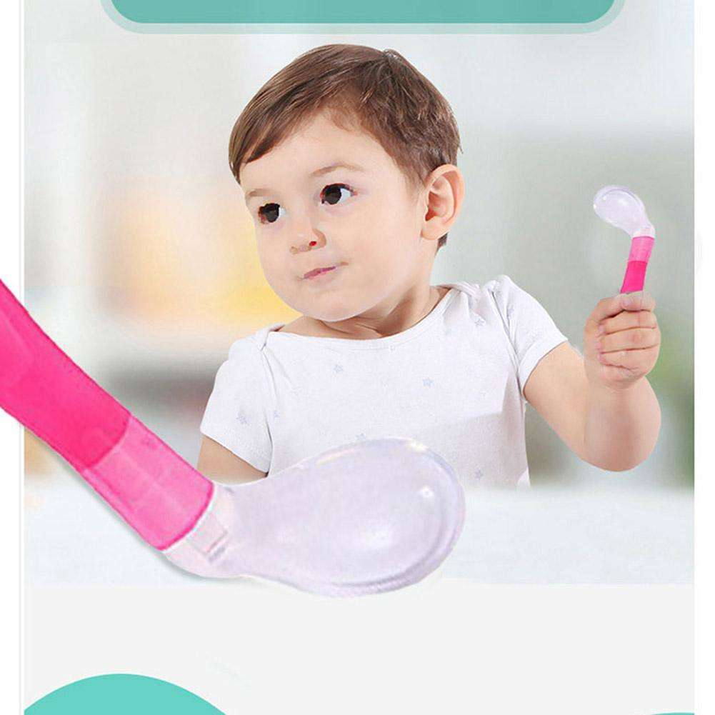 Kids Soft Silicone Large Feeding Flatware Baby Rice Spoon (Red)