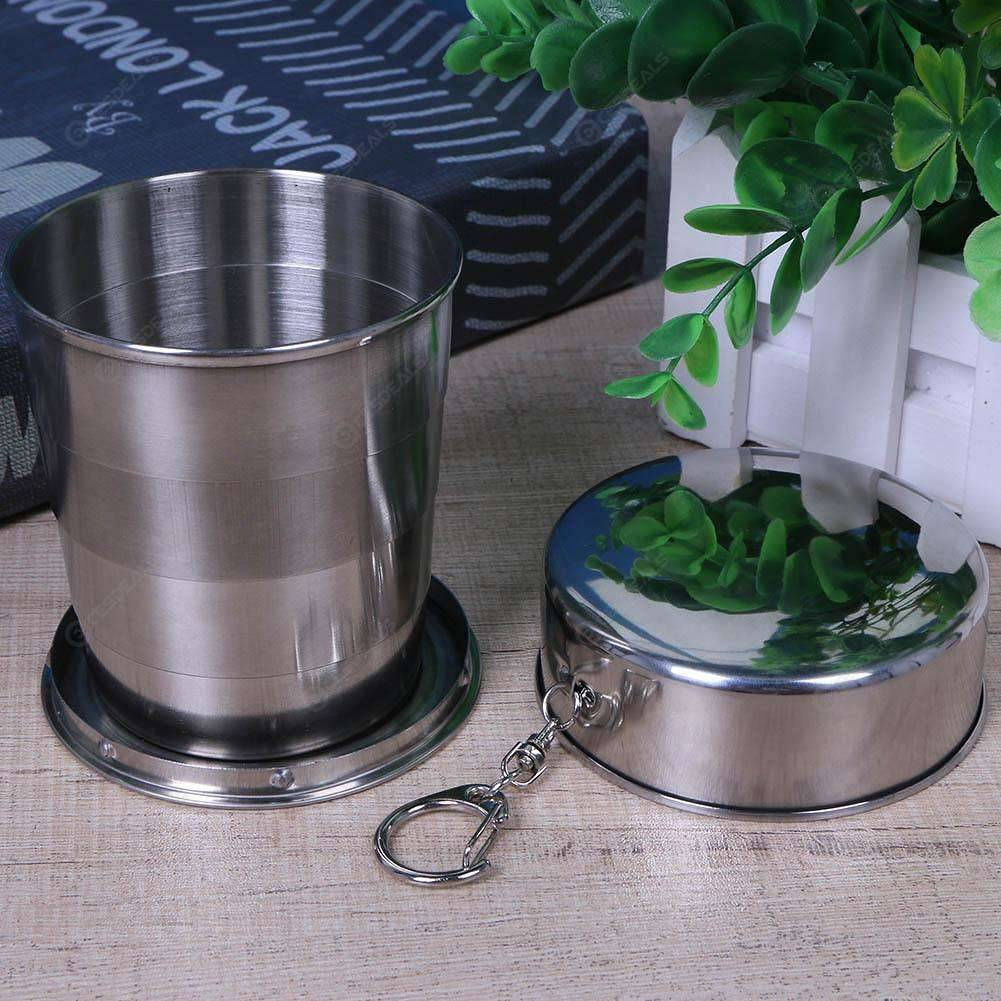 Big Stainless Steel Travel Portable Retractable Metal Wine Folding Cup, 501 Original