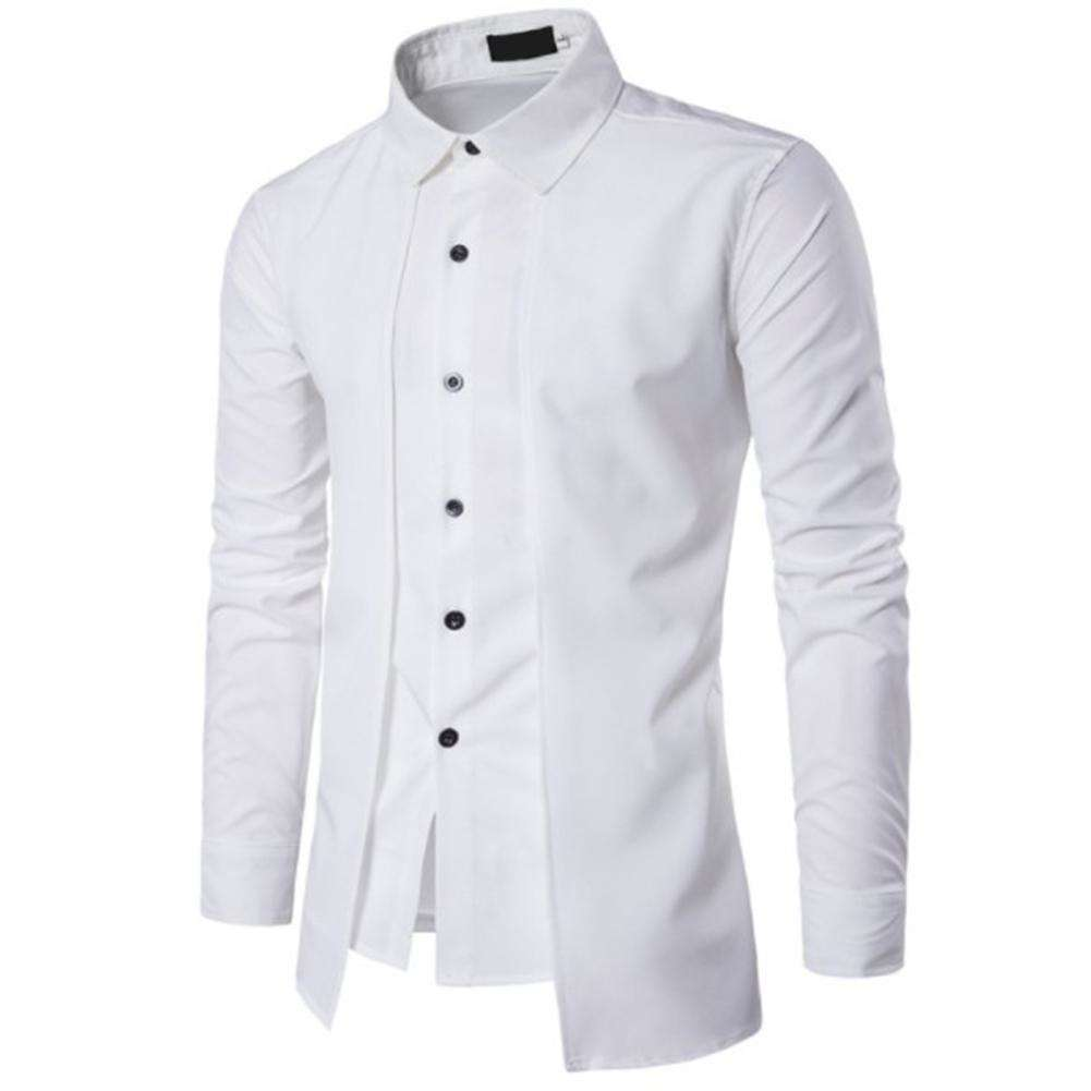Men Fake-2pcs Double Breasted Pure Color Casual Fit Shirts(White)(XXL)