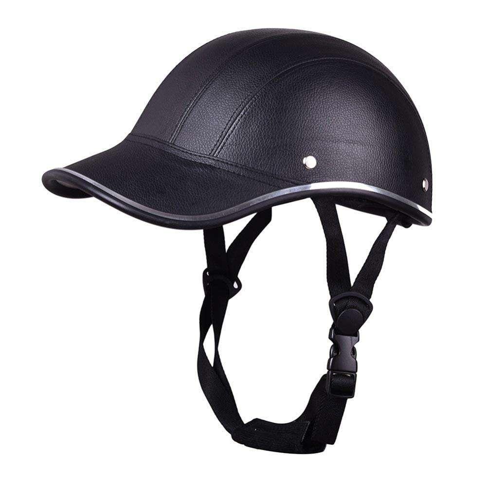 Motorcycle Helmet Adjustable Half Open Face Helmet Baseball Cap(Black)