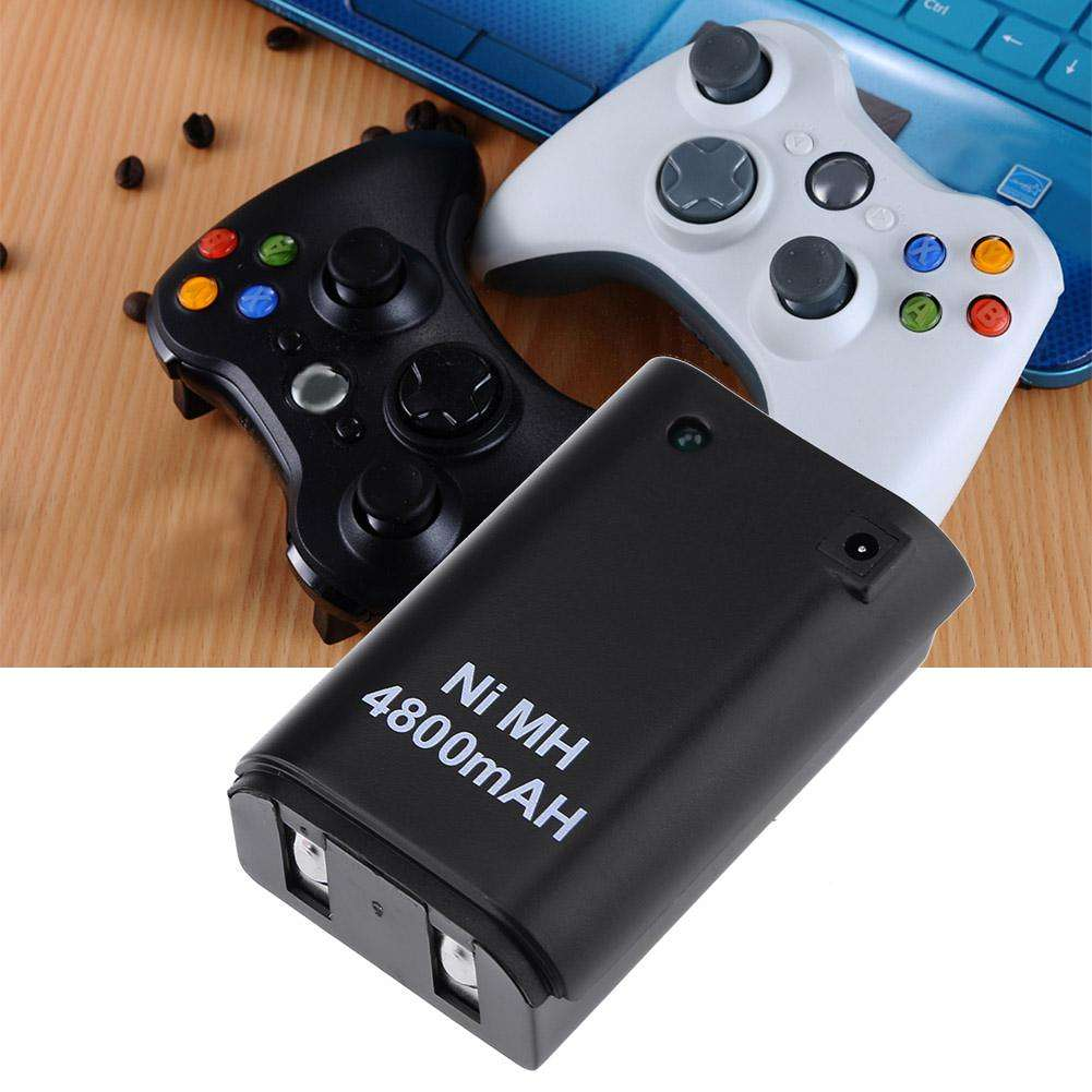 4,800mAh Battery Pack+ Charger Cable for Xbox 360 Wireless Controller Black