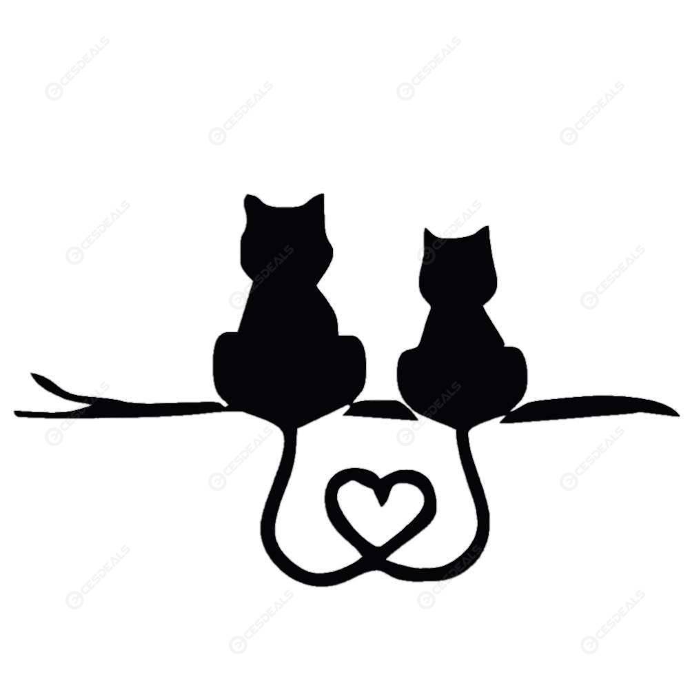 Auto Styling Karikatur Lustige Zwei Kätzchen Liebe Katze Auto Reflektierende Aufkleber Motorrad Aufkleber Für Lkw Suv Tür Seitenfenster Neu