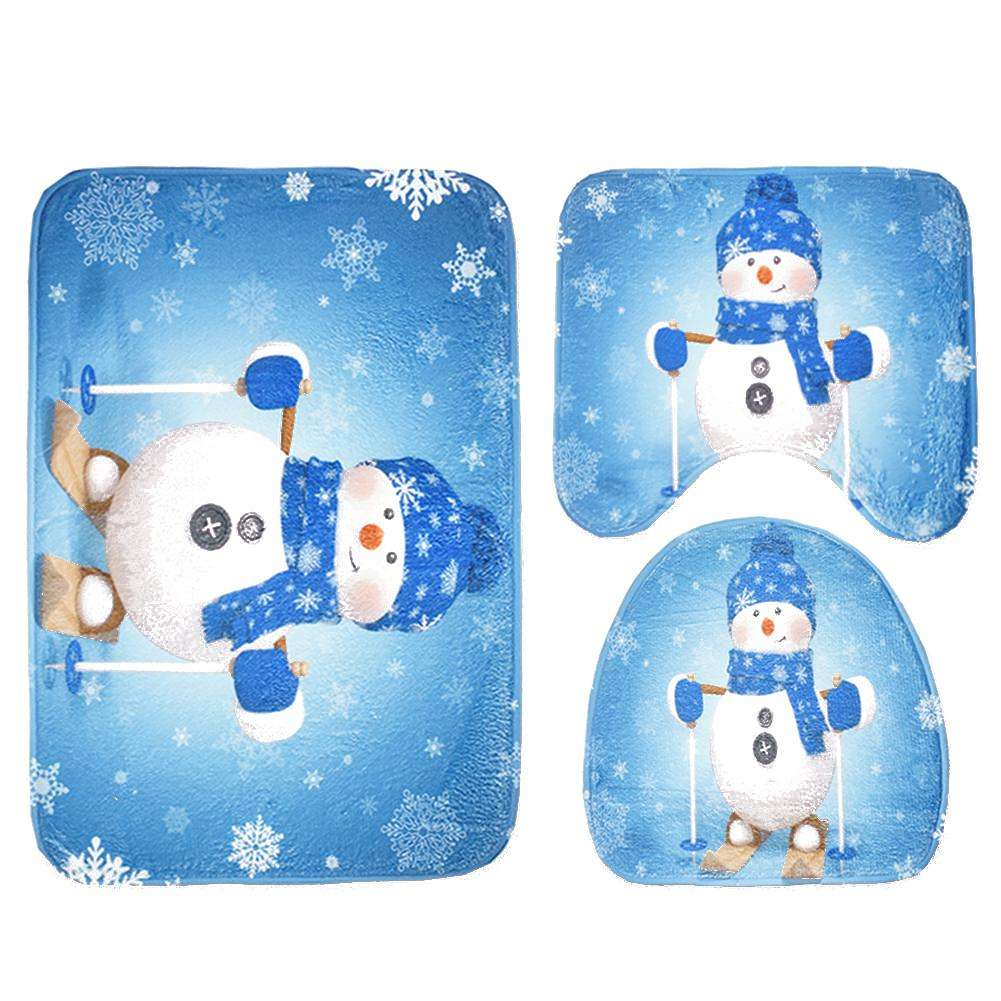 Astonishing 3Pcs Christmas Cartoon Toilet Seat Cover Bathroom Mat Snowman Carpet Mat Cjindustries Chair Design For Home Cjindustriesco