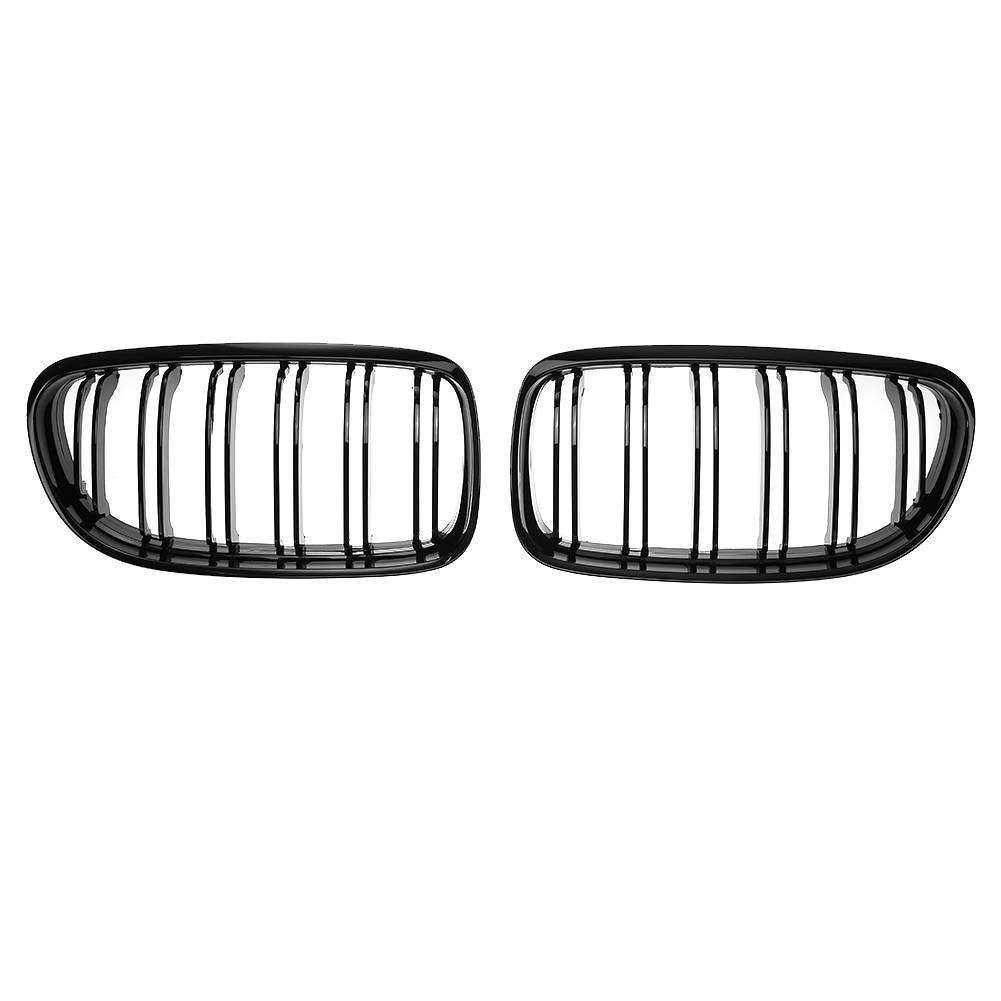 Chrysler 300 Srt 11 19 Splitter Extension: Gloss Black Double Rib Front Bumper Kidney Grille For BMW