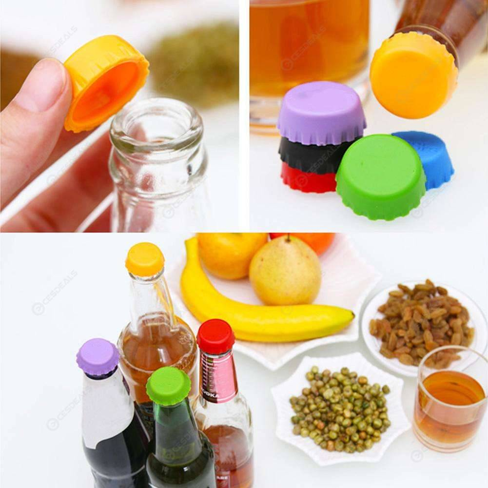 6pcs Beer Bottle Cap Silicone Colorful Leak Free Wine Bottle Sealer Stopper 501 Original фото