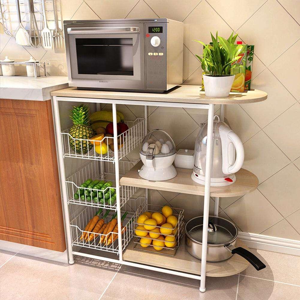 3 Tire Home Kitchen Baker Rack Utility Microwave Stand Storage Workstation