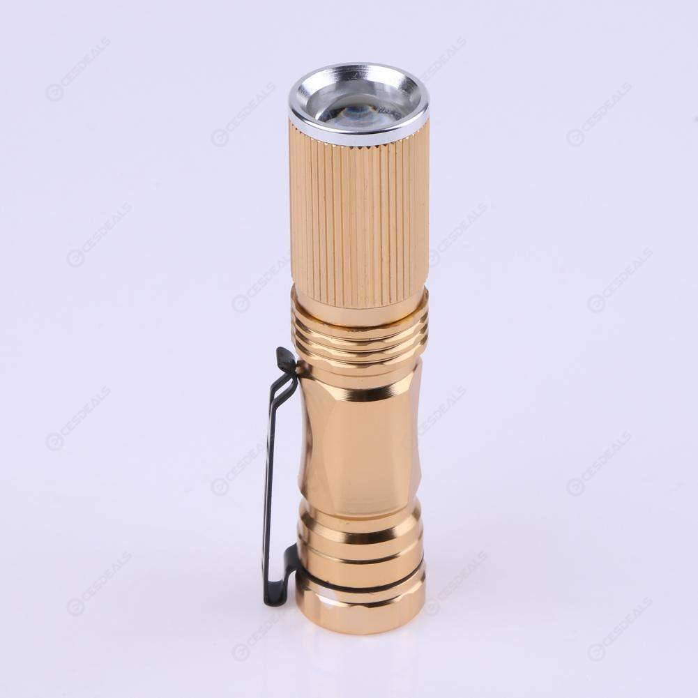 Mini Pocket Battery Powered Telescopic Zoomable LED Flashlight Torch(Gold)