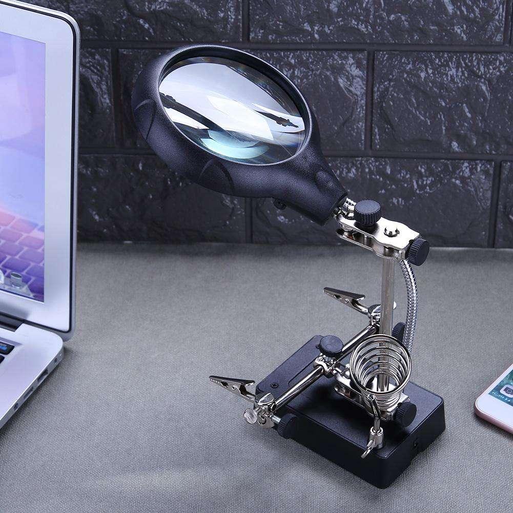 10X Magnifier Desk Lamp Repair Clamp Desktop Magnifying Glasses 5 LED Light