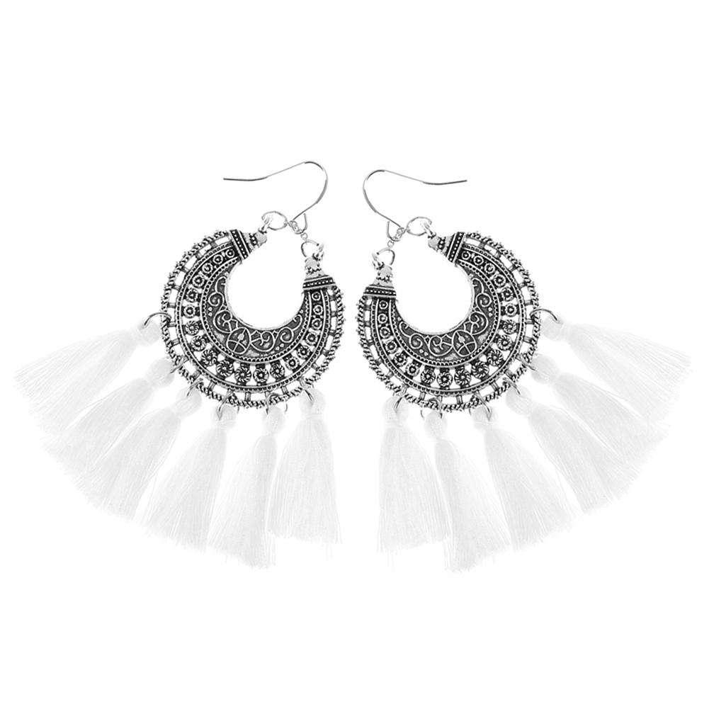 CN/_ 1 Pair Women/'s Fashion Boho Tassel Feather Drop Dangle Hook Long Earrings