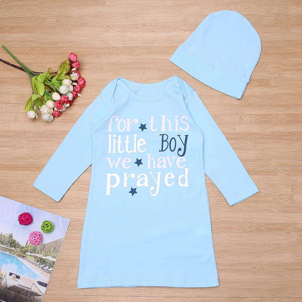 2pcs/Set Baby Sleeping Bag Cotton Letter Long Sleeve Sleepsacks + Hat(70cm)