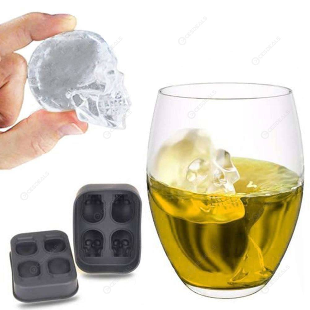 4 Holes Silicone Bones Skull Ice Cube Mold Cake Candy Tray Halloween Gift 501 Original фото