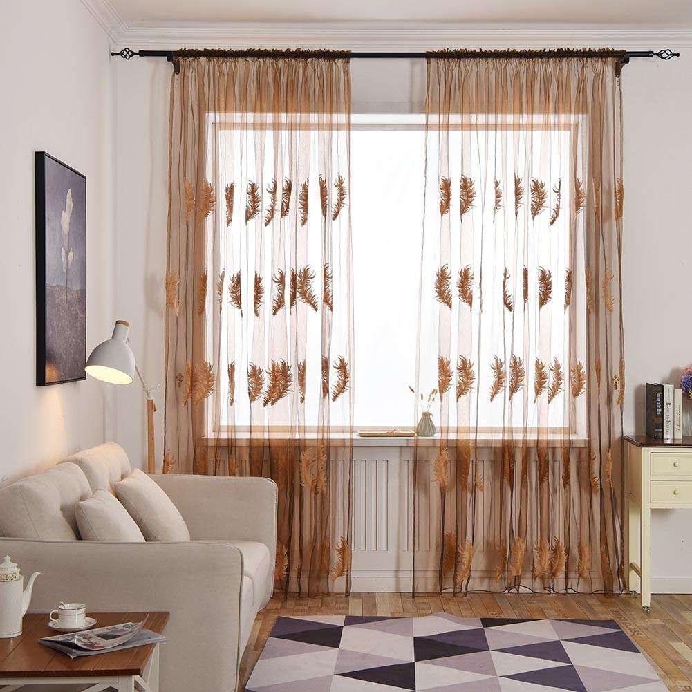 2.5x1m piuma tende ricamate per soggiorno camera da letto tenda Voile