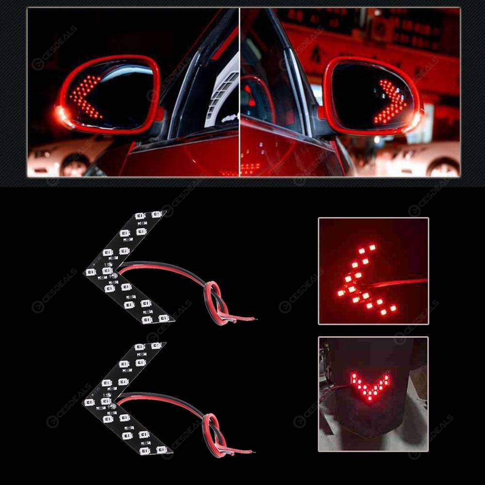 Led Signal Rear Side View Mirror 2pcs Lights 14smd Panel Turn Car Arrow Red Yg76yfb