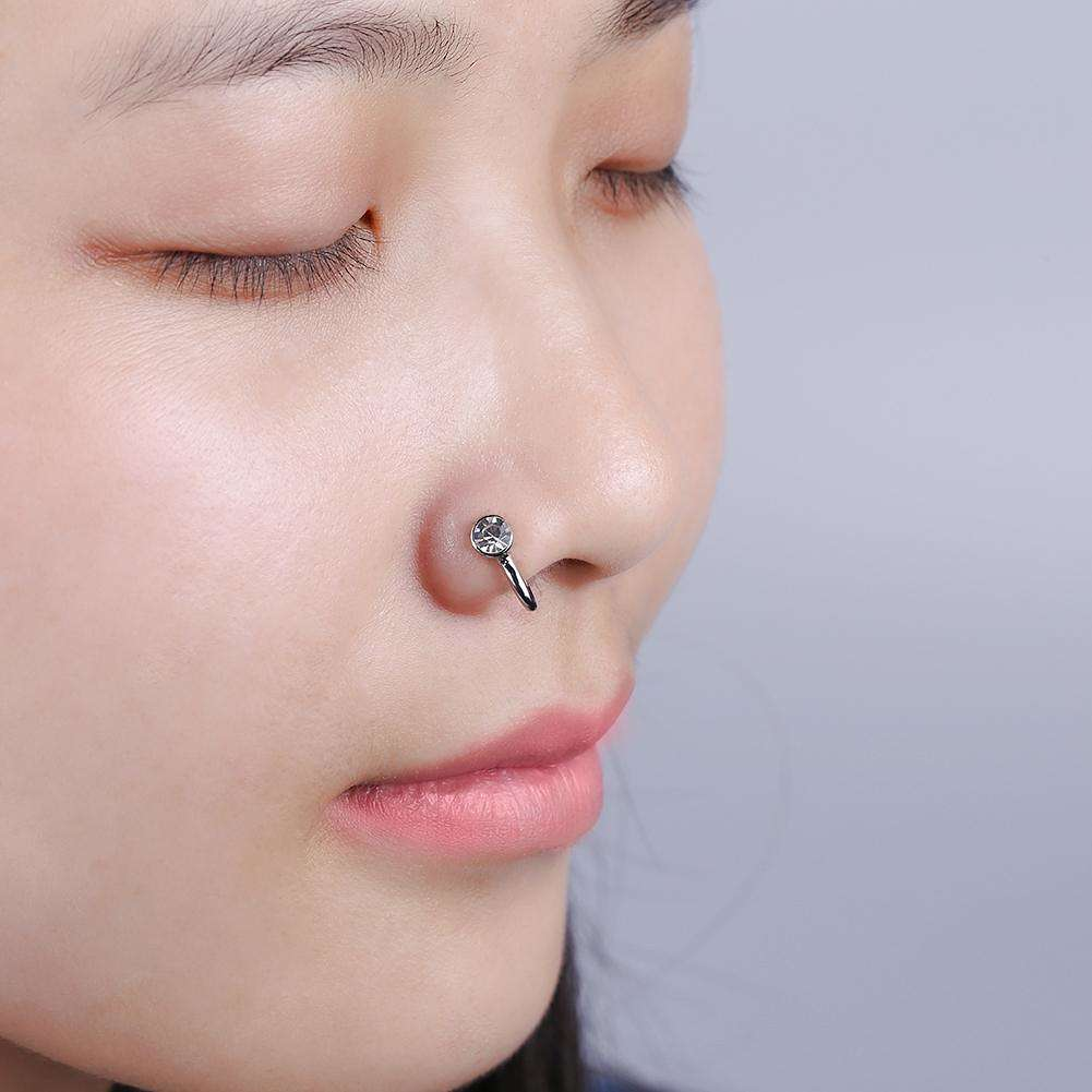 Crystal Rhinestone Round Nose Ring Nose Stud Hooks Piercing