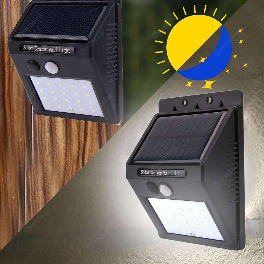 20 LED Solar Motion Sensor Wall Light Outdoor Waterproof Garden Yard Lamp