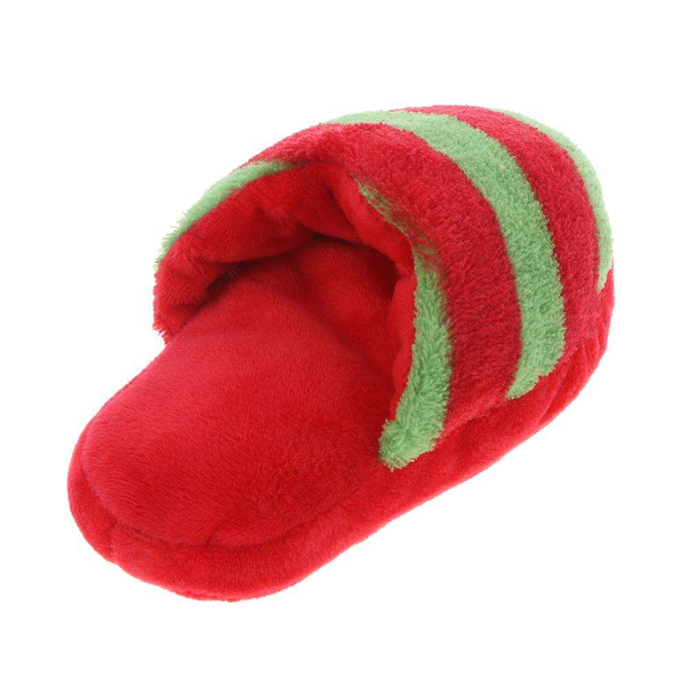 Striped Plush Slipper Shaped Squeaky Pet Toy Puppy Dog Sound Chew Toy(1)