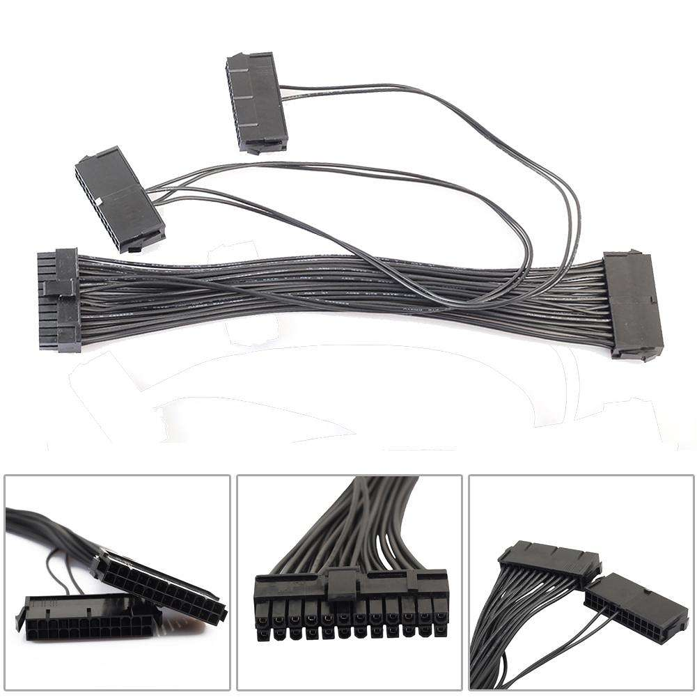 2pcs ATX 24Pin Quad 3 PSU Power Supply Starter Motherboard Adapter Cable