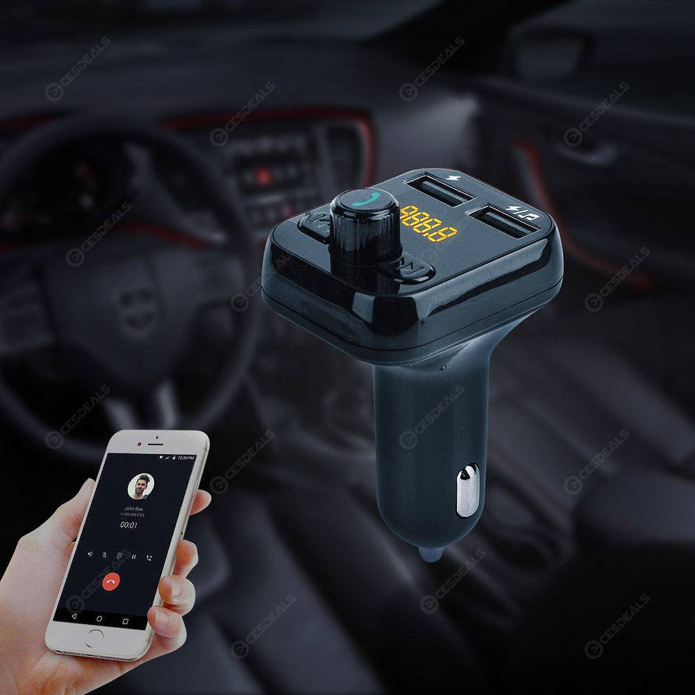 SWM-101 Car Bluetooth Hands-free FM Transmitter MP3 Player Dual USB Charger