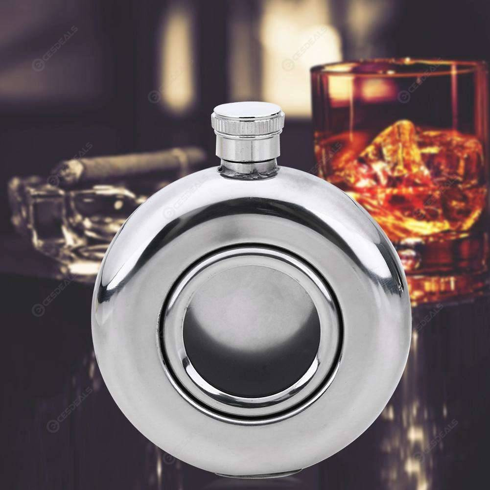 Round Semi-transparent Stainless Steel Wine Pot Hip Flask Camping Flagons 501 Original фото
