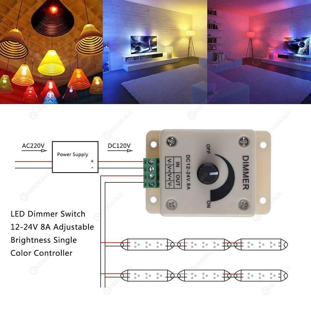 LED Dimmer Switch 12-24V 8A Adjustable Brightness Single Color Controller