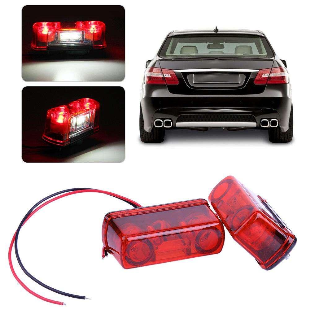 2pcs 12V/24V LED Rear Tail License Plate Lights for Car Truck Trailer Lorry