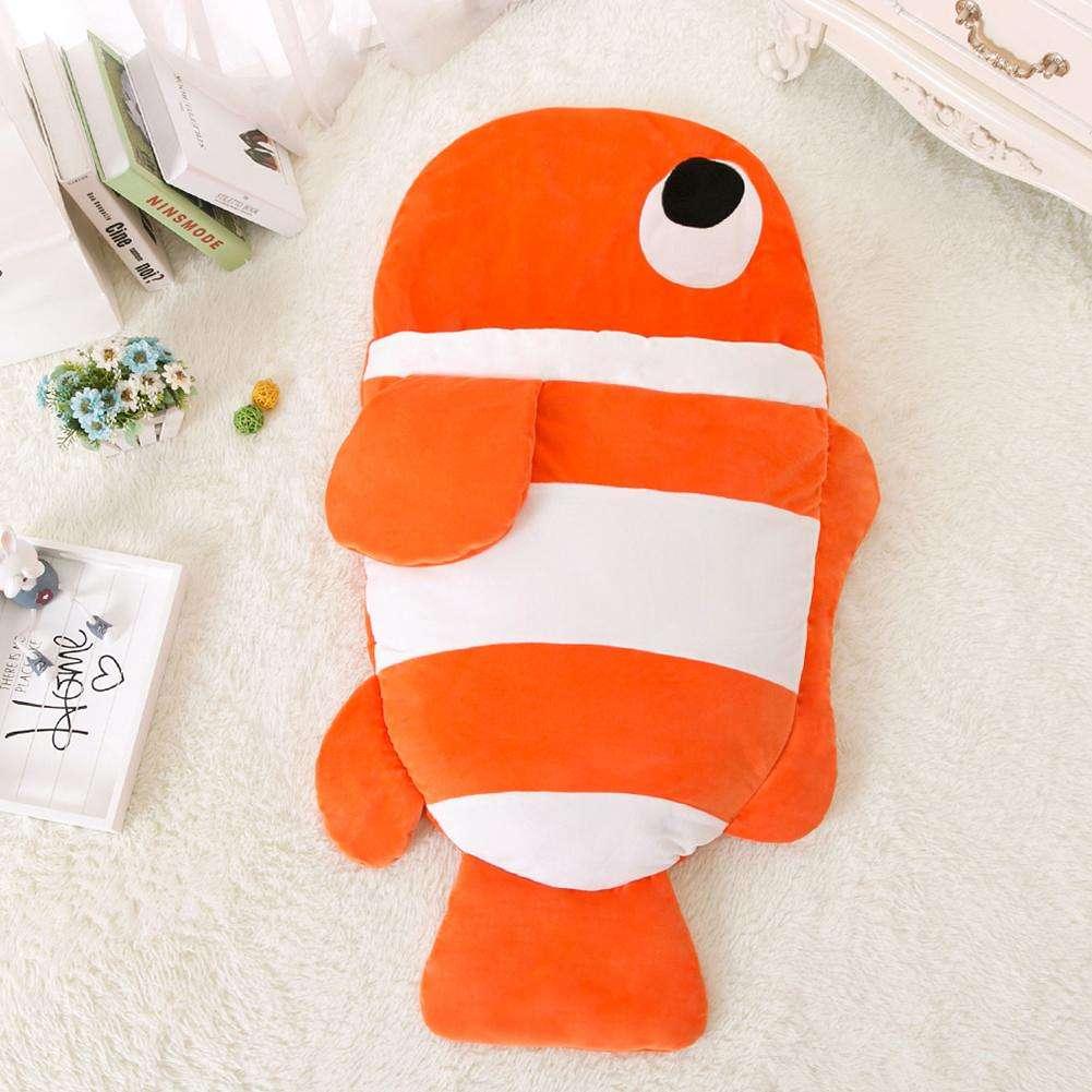 Cute Baby Fish Sleeping Bag Stroller Blanket Newborn Swaddle Wrap (Orange L