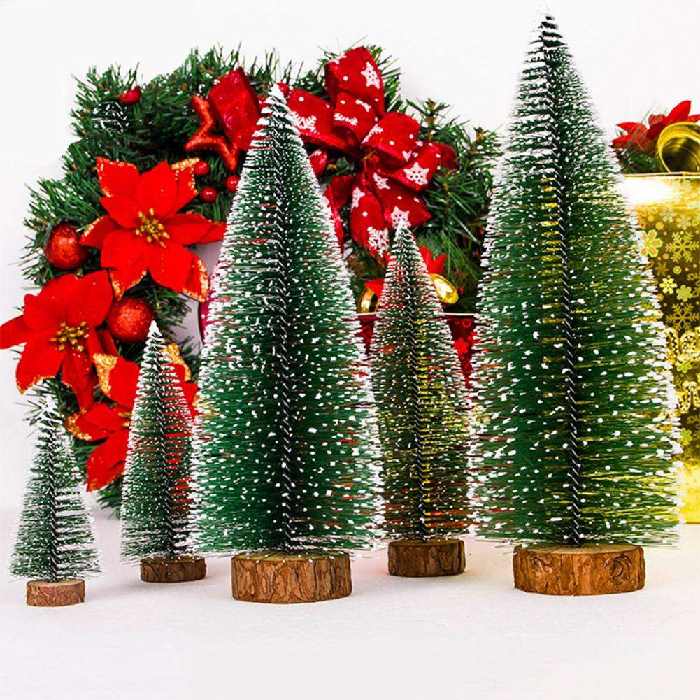 Simulation Mini Christmas Tree Ornament Home New Year Desktop Decor (10X6cm
