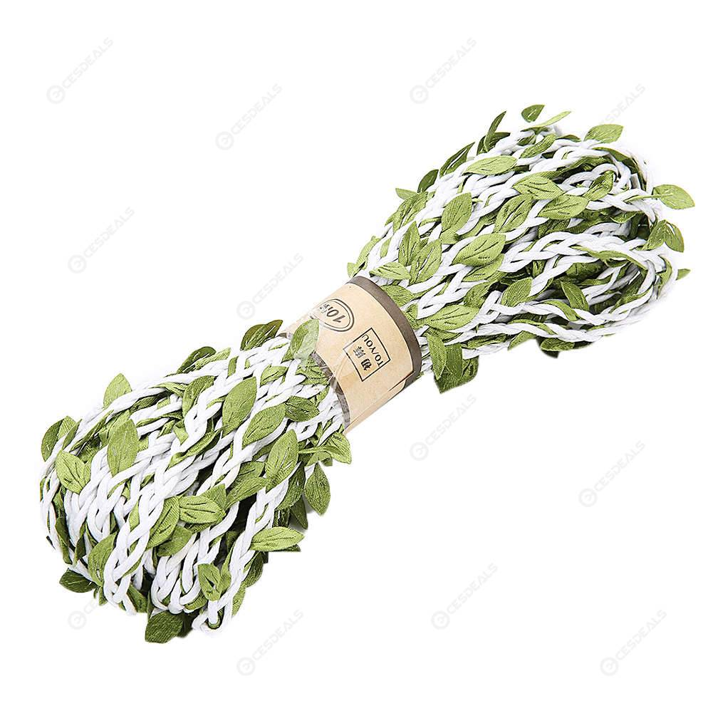 Artificial Leaves Twine Wax Braided Rope DIY Home Party Decor Props (White)