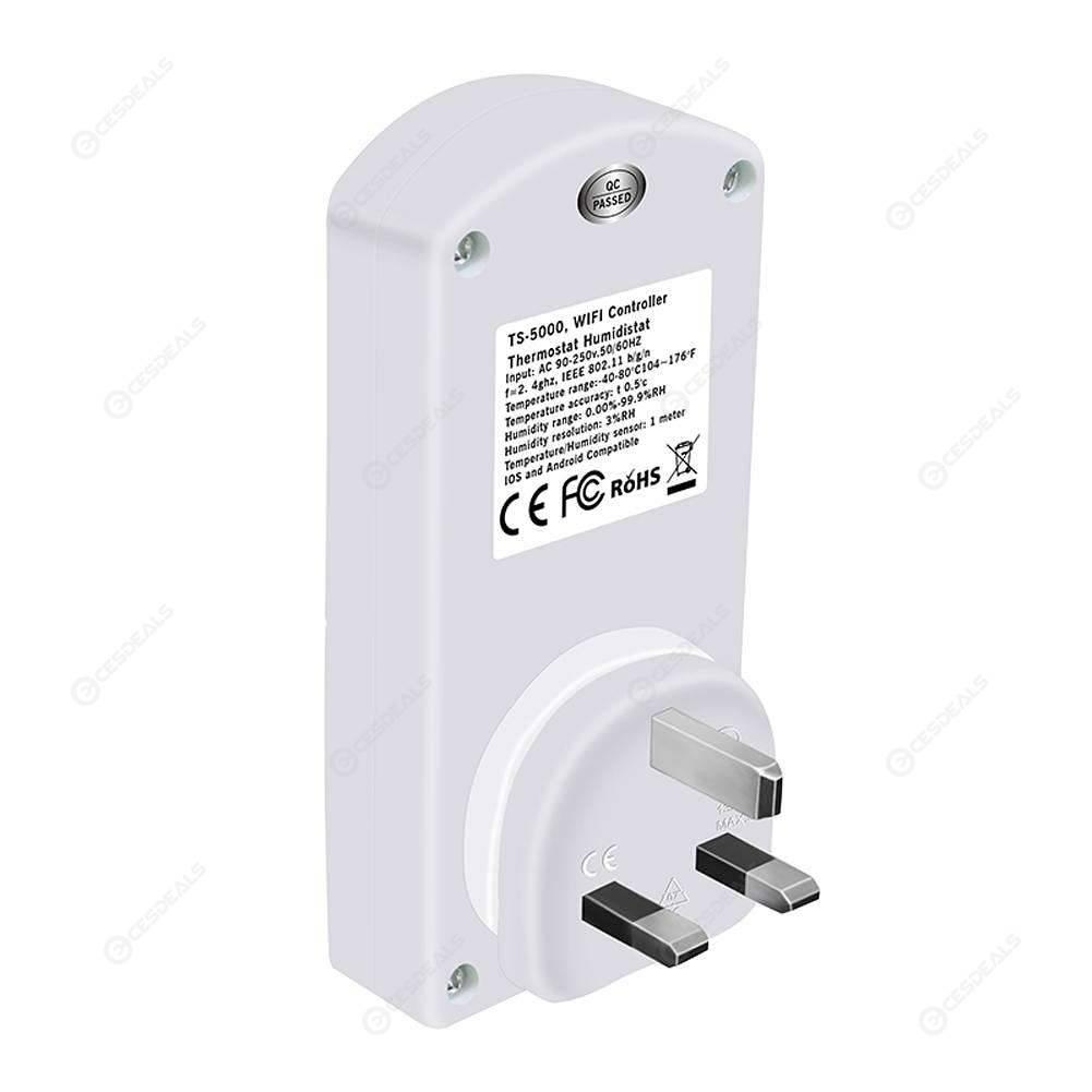 TS-5000 Wireless WIFI Temperature Humidity APP Remote Control Socket (UK)