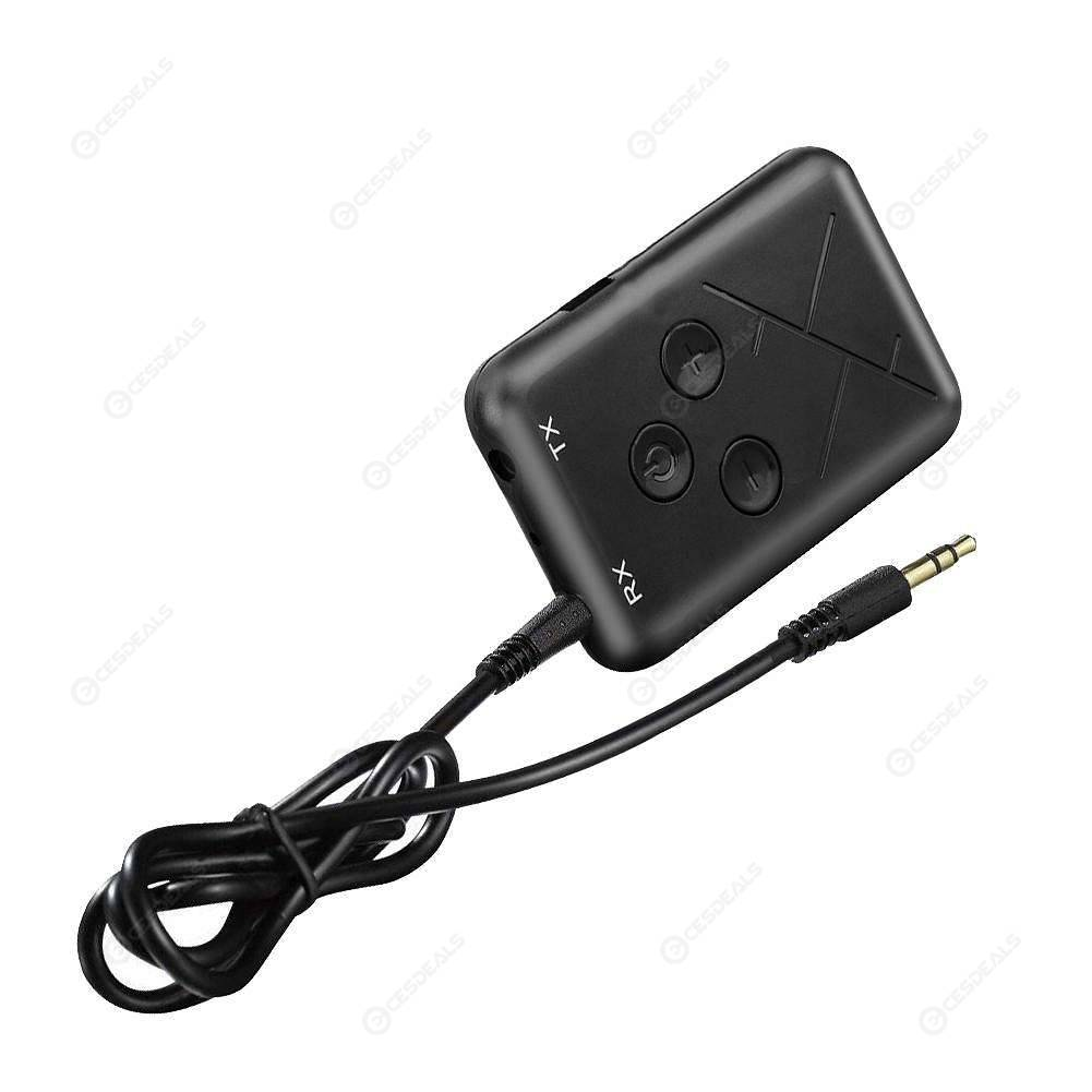 Black Bluetooth 4.2 Transmitter /& Receiver 3.5mm Wireless Stereo Audio Adapter