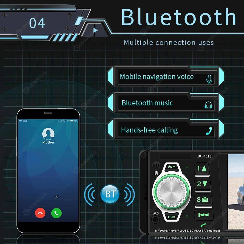 SWM-4018 4in Bluetooth Car Stereo MP5 Player FM Radio Head Unit (No Camera)
