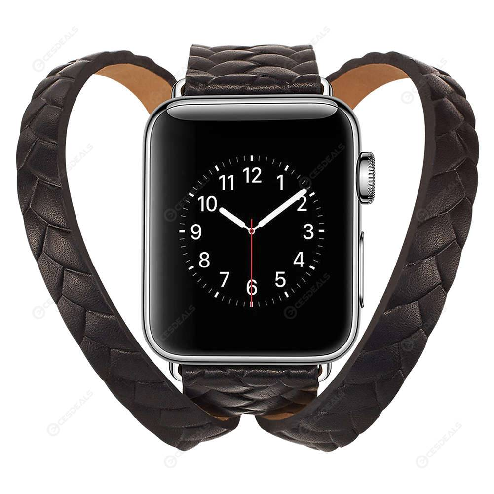Crown Double Loop Leather Watch Band Strap For IWatch 1 2