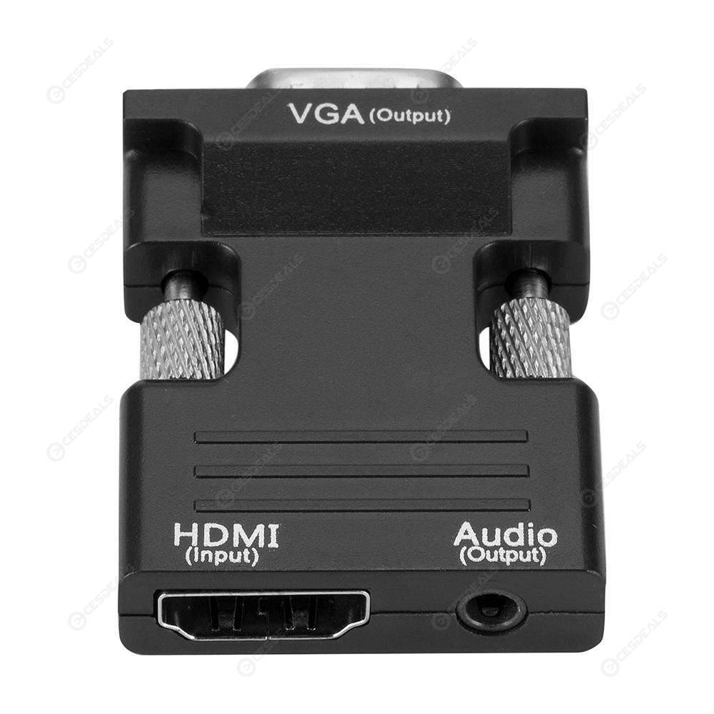 HDMI Female to VGA Male Adapter w/Audio Cable Support 1080P Output (Black)