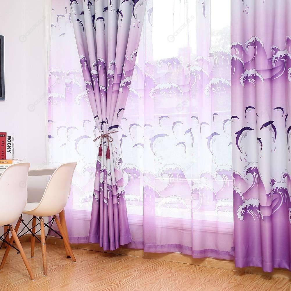 Jump Dolphin Print Blackout Curtains Bedroom Windows Drapes Curtain (Purple