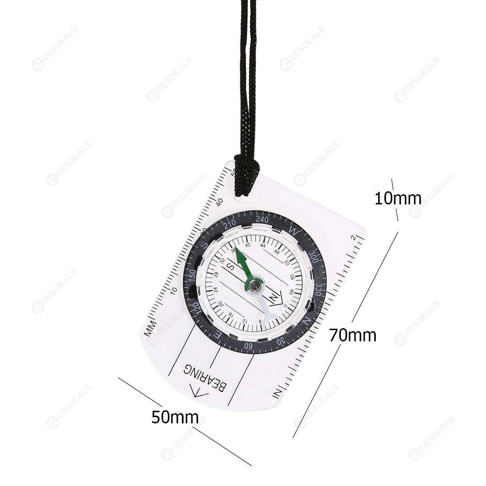 Multifunctional Compass Map Acrylic Ruler Outdoor Hiking Camping Survival Kit
