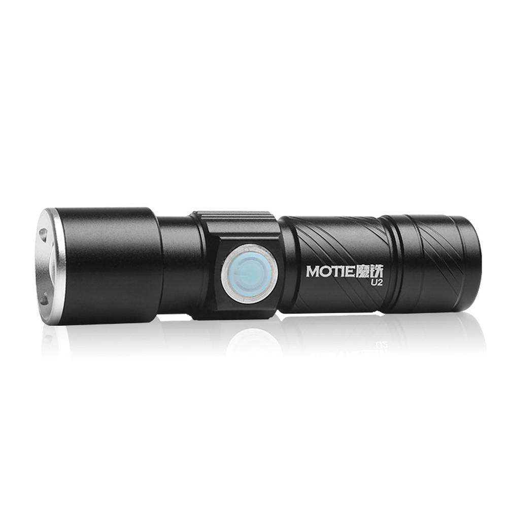 MOTIE U2 USB Rechargeable Mini LED Flashlight 3 Modes Telescopic Zoom Torch
