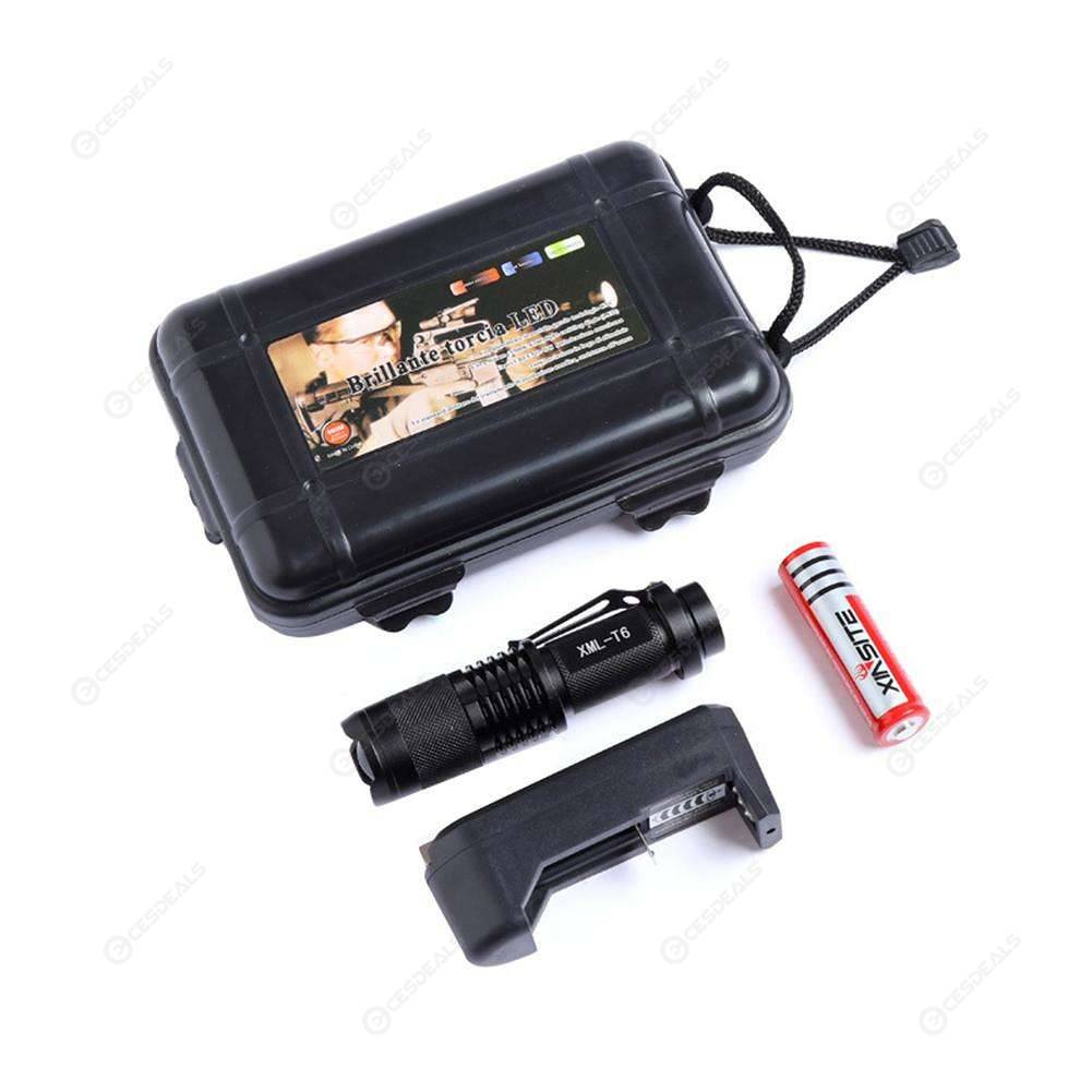 XINSITE SK98 Charging T6 Flashlight 5 Modes Telescopic Zoom Torch (A)