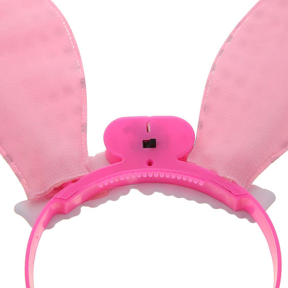 LED Beleuchtung Haarband Paillette Häschen Ohren Stirnband Party NEU