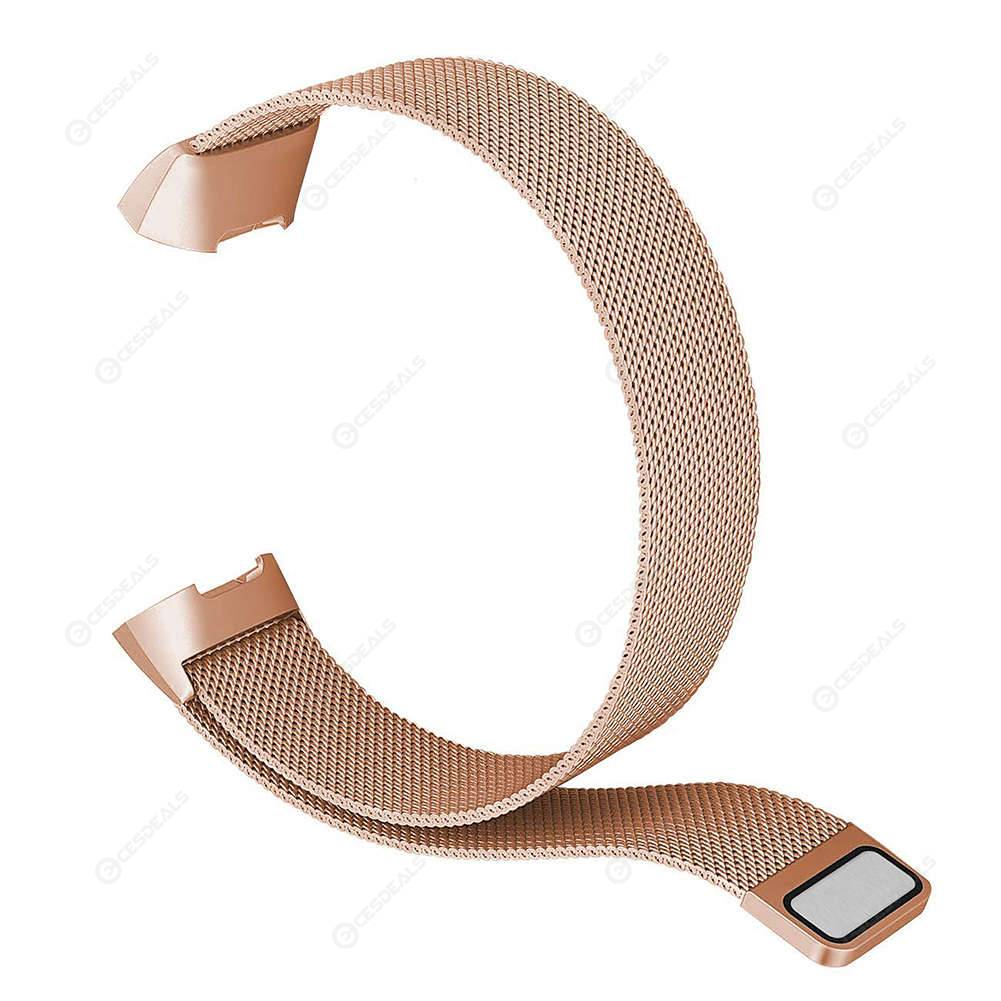 Milanese Steel Magnetic Watch Band Strap for Fitbit Charge 3 (Rose Gold L)