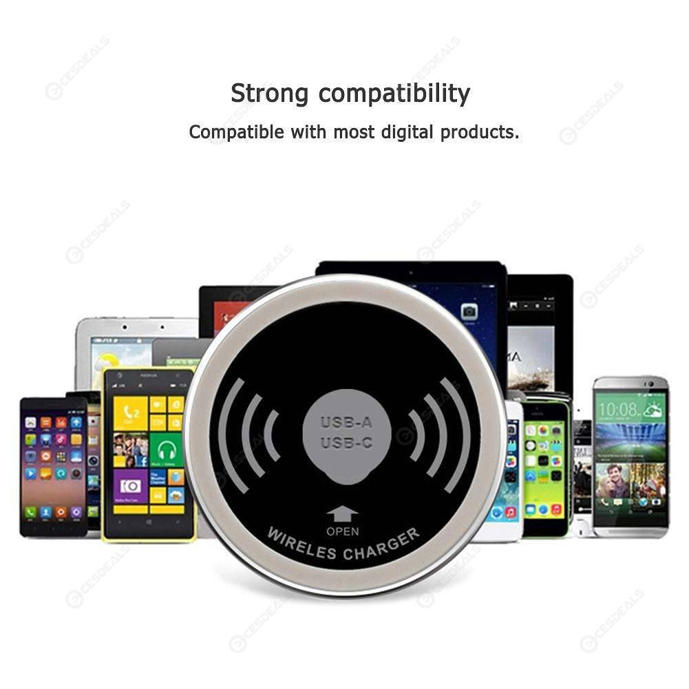 USB Type-C Multiple Coil QI Wireless Charger Embedded Desktop Transmitter