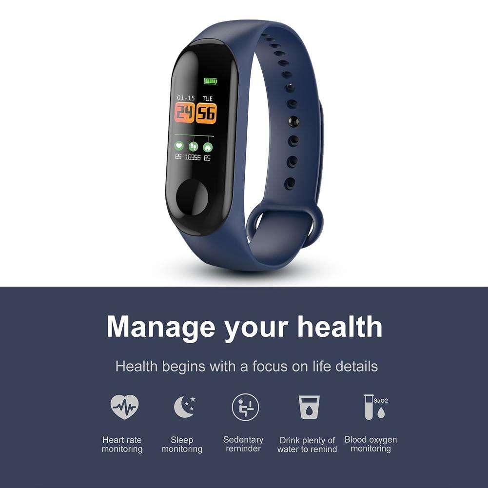 Aeitto W3 Waterproof Smart Wristband Sleep Monitor Fitness Tracker (Blue)