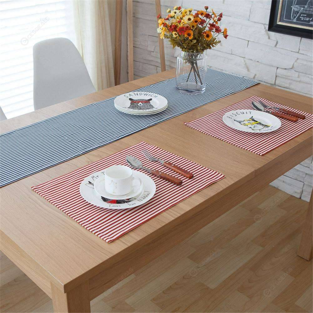 Cotton Place Mat Dinner Table Heat Proof Mats Plate Dish Pads Coaster (Red