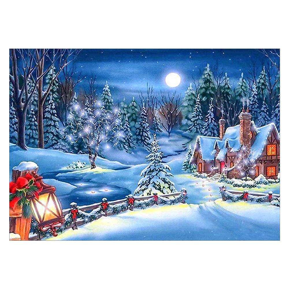 CN/_ Xmas Snow Covered Landscape Full Diamond Painting Cross Stitch Wall Decor