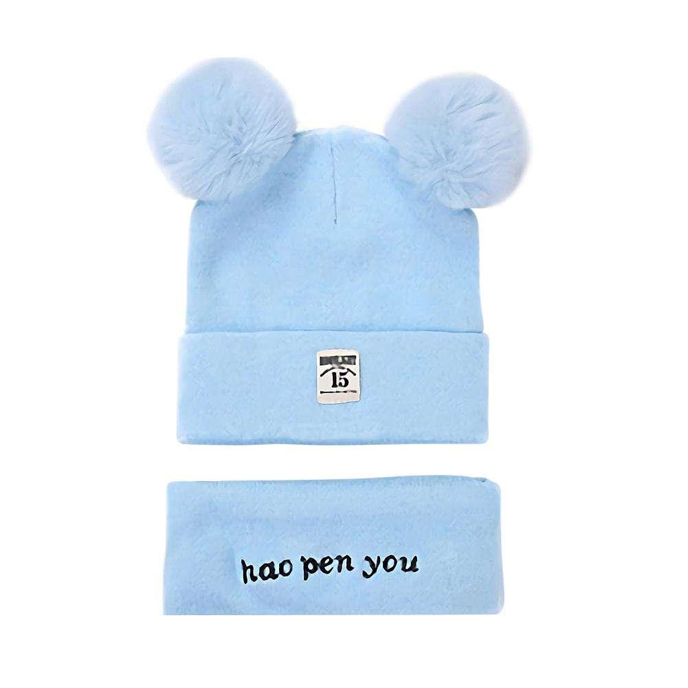 Diamondo 2pcs//Set Cute Baby Boys Girls Knitted 2 Pompom Cap Scarf Infant Hat Scarves