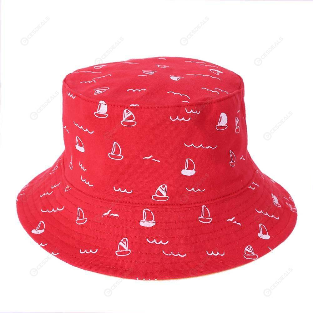 Spring Infants Cute Casual Fisherman Cap Baby Outdoor Flat Bucket Hat (Red)